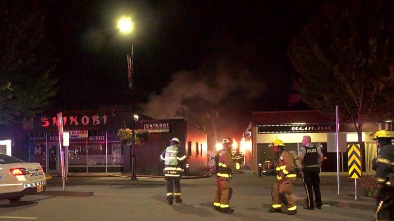 Crews responded to a fire at a sushi restaurant in Maple Ridge on Aug. 14, 2020.