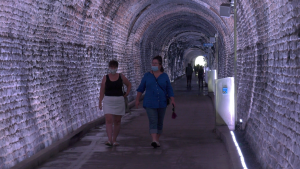 Joanne and Una from Toronto tour the Brockville Railway Tunnel as the popular tourist attraction opens for the season. (Nate Vanermeer/CTV News Ottawa)