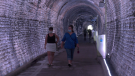 Joanne and Una from Toronto tour the Brockville Railway Tunnel as the popular tourist attraction opens for the season. (Nate Vandermeer/CTV News Ottawa)