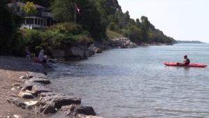 Lake Huron, seen at Bayfield, Ont. on Friday, Aug. 14, 2020, is not likely to set a record for high water levels.  (Scott Miller / CTV London)
