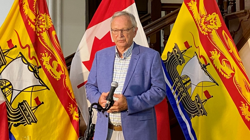 New Brunswick Premier Blaine Higgs speaks to media during a press conference in Fredericton on July 30, 2020. THE CANADIAN PRESS/Kevin Bissett