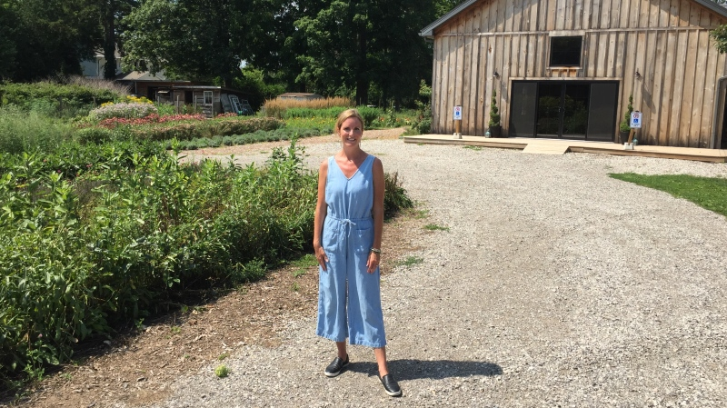 Jane Magri speaks at Wildflowers Farms in Central Elgin, Ont. on Friday, Aug. 14, 2020. (Bryan Bicknell / CTV News)