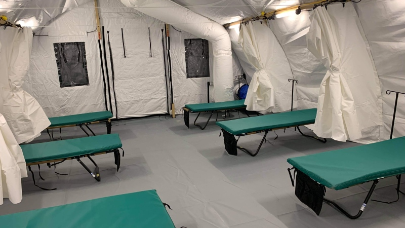 A tent is set up at Keeywaywin First Nation to screen residents. (Source: Martina Dwyer