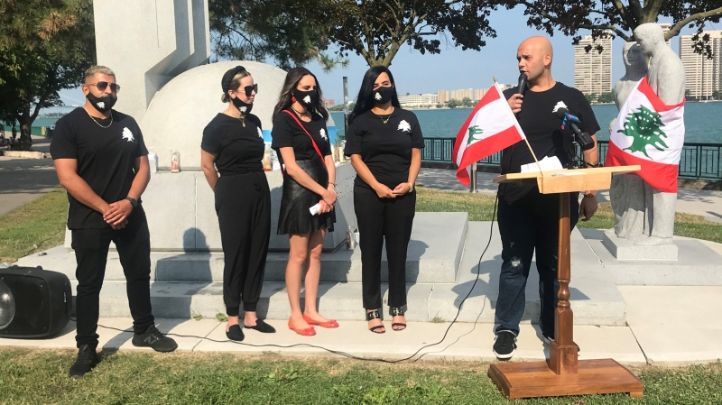 Organizers of the Windsor-Essex Helping Lebanon fundraiser announce their total in Windsor, Ont. on Friday, Aug. 14, 2020. (Alana Hadadean / CTV Windsor)