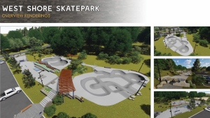 A rendering of the proposed skatepark is shown: (Westshore Skatepark Coalition)