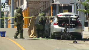 A explosive disposal unit was brought in to investigate a car explosion in downtown Kitchener. (Aug. 14, 2020)