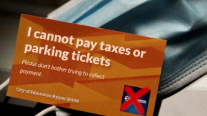 A mock bylaw exemption card, as seen on Edmonton coder Troy Pavlek's website, is shown.