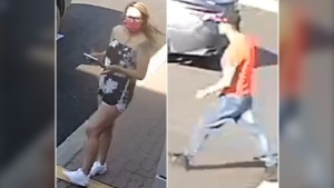 Edmonton police are seeking the public's assistance identifying this man and woman in relation to a shooting in a northeast Edmonton parking lot earlier this week. (EPS photo)