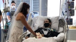 The happy couple were married with the weakened groom still in his hospital bed. (Courtesy Methodist Healthcare)