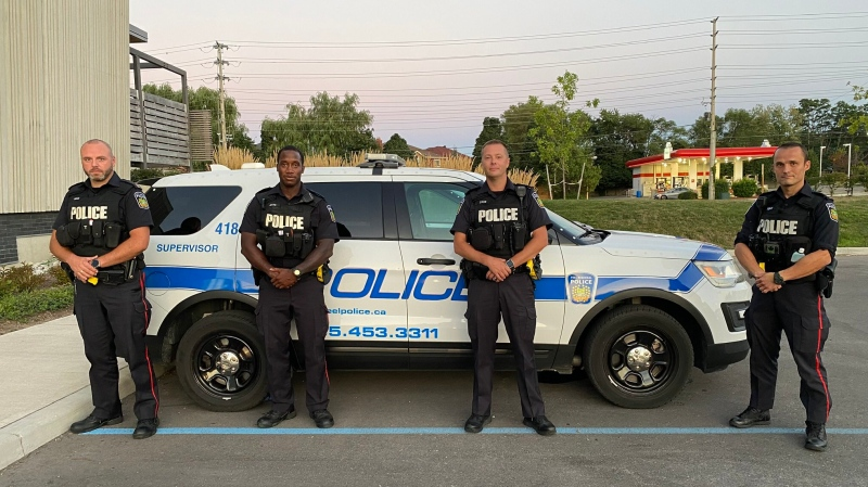A photo of the four uniformed officers from Peel Regional Police. (@DeputyAndrews/Twitter)