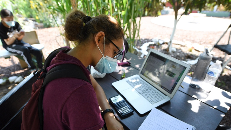 East College Prep High School senior Jocelyn Hernandez follows a remote Advanced Placement (AP) Calculus class while sitting in a community garden near her home, August 14, 2020 in the Boyle Heights neighborhood of Los Angeles, Calif. (Robyn Beck/AFP/Getty Images)