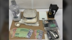 Chilliwack RCMP released a photo of the drug paraphernalia alleged to have been found during a search of a home on Cowichan Street.