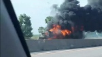Transport truck fire in the EB lanes of the 401 near Putnam Road on Aug. 15, 2020. (Courtesy: Bert Northup)