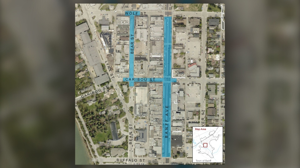 Masks are now mandatory in Banff in select outdoor pedestrian areas along Banff Ave, Bear St, Caribou St and Wolf St (Town of Banff/Twitter)