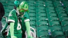 A Saskatchewan Roughriders fan reacts after his team lost to the Winnipeg Blue Bombers in the CFL West Final football game in Regina, Sunday, Nov. 17, 2019.THE CANADIAN PRESS/Jeff McIntosh