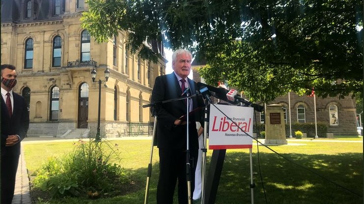 New Brunswick Liberal leader Kevin Vickers speaks to the media after Premier Blaine HIggs called an elecion for Sept.14. (CTV ATLANTIC / LAURA BROWN)