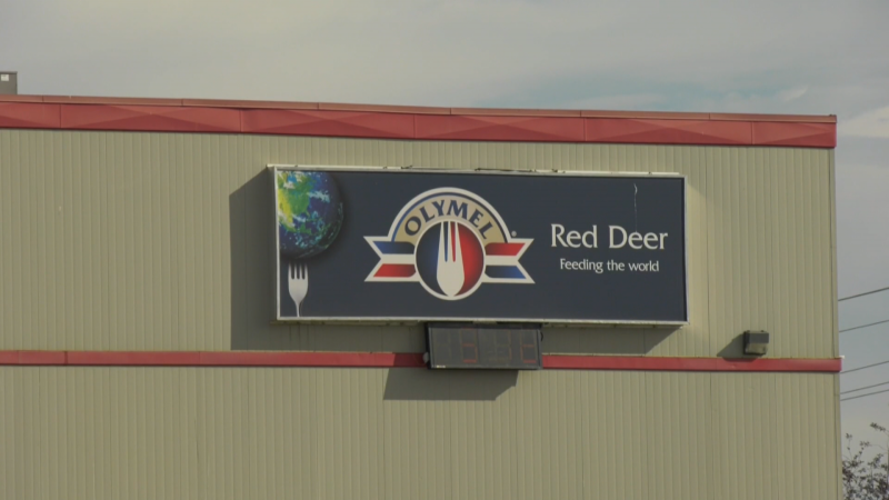 Olymel's Red Deer processing plant is shown.