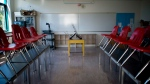 An empty classroom is seen in this undated photo.