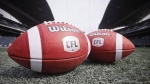 CFL balls are photographed at the Winnipeg Blue Bombers stadium in Winnipeg Thursday, May 24, 2018. (THE CANADIAN PRESS/John Woods)