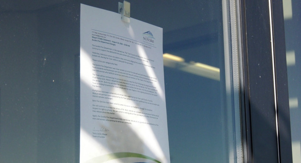 A notice posted at the town office in Sundre.