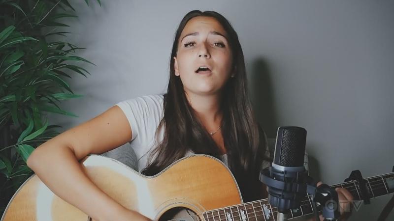 Celeste Levis of Timmins sings an original tune.