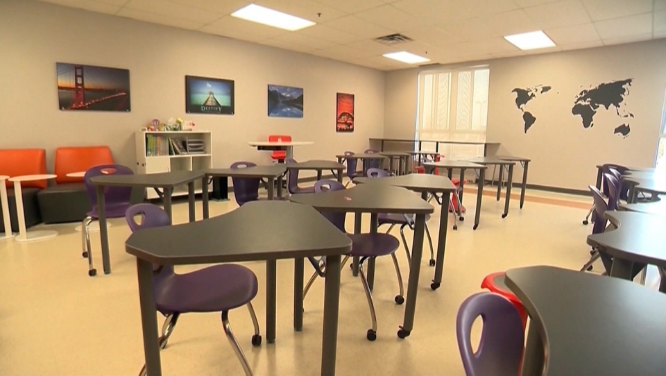 empty, classroom, Alberta, re-entry