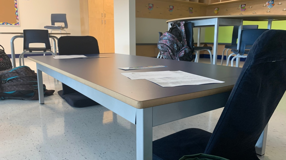 Chairs are spaced out in classrooms at Jonathan Pitre French Catholic Elementary School. Children keep their backpacks with them. (Saron Fanel / CTV News Ottawa)