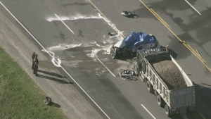 Ontario Provincial Police are investigating a deadly collision on Hwy 10 in Caledon, Ont., on Wed., Aug. 19, 2020.