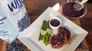 Grilled Pork Chops w/ Wild Blueberry BBQ Sauce