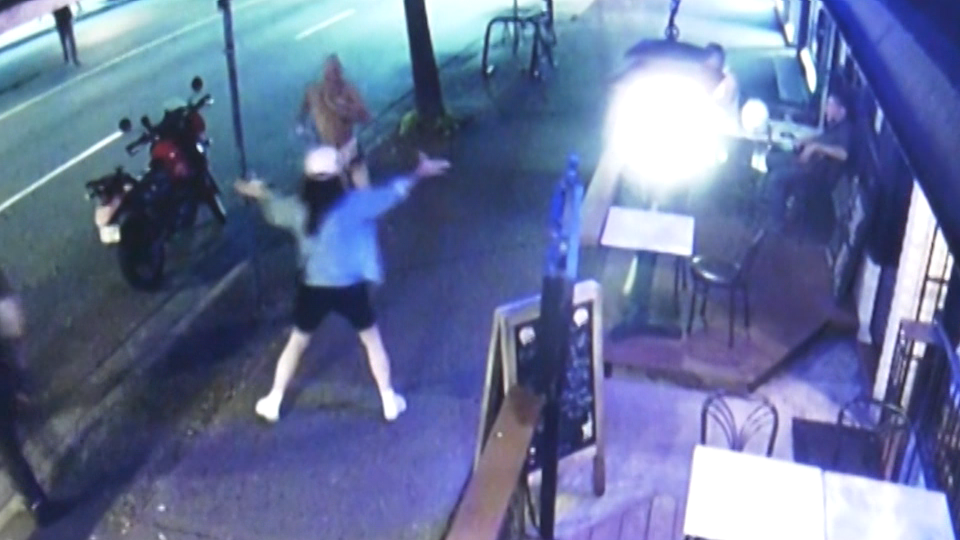 Surveillance footage from outside a business on Commercial Drive shows a woman tackling an alleged thief.