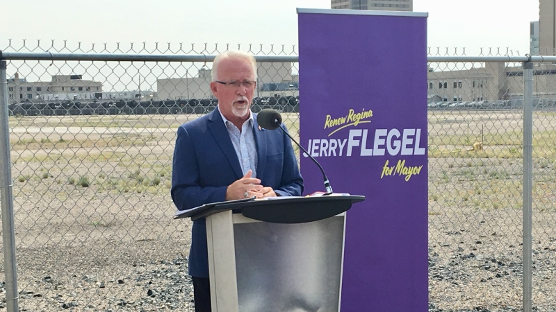 Jerry Flegel announces his intentions to run for Regina mayor in the upcoming elections. (Gareth Dillistone/CTV Regina