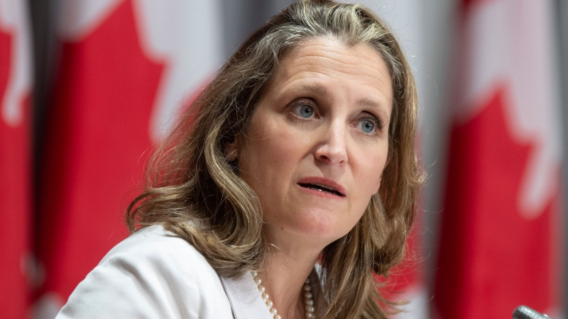 Deputy Prime Minister and Minister of Finance Chrystia Freeland responds to a question during a news conference Thursday August 20, 2020 in Ottawa. THE CANADIAN PRESS/Adrian Wyld