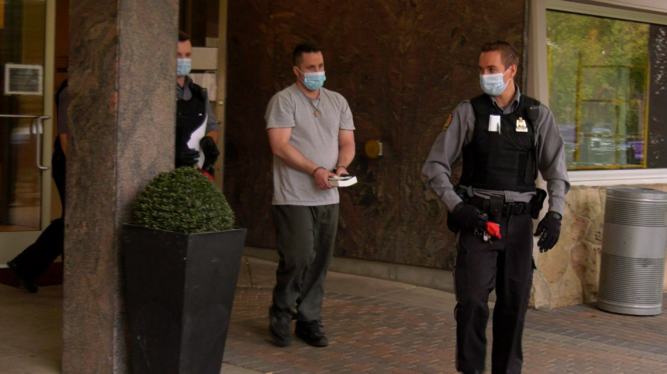 Tyler Seeley leaving the Sheraton Hotel after being sentenced Aug. 20, 2020. (Chad Hills/CTV Saskatoon)
