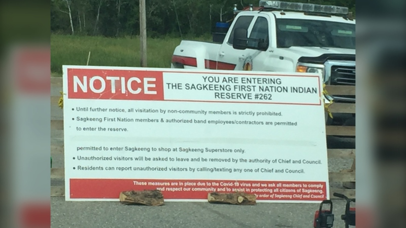 Sagkeeng First Nation put check points in place amid the COVID-19 pandemic. (Source: John Schneider)