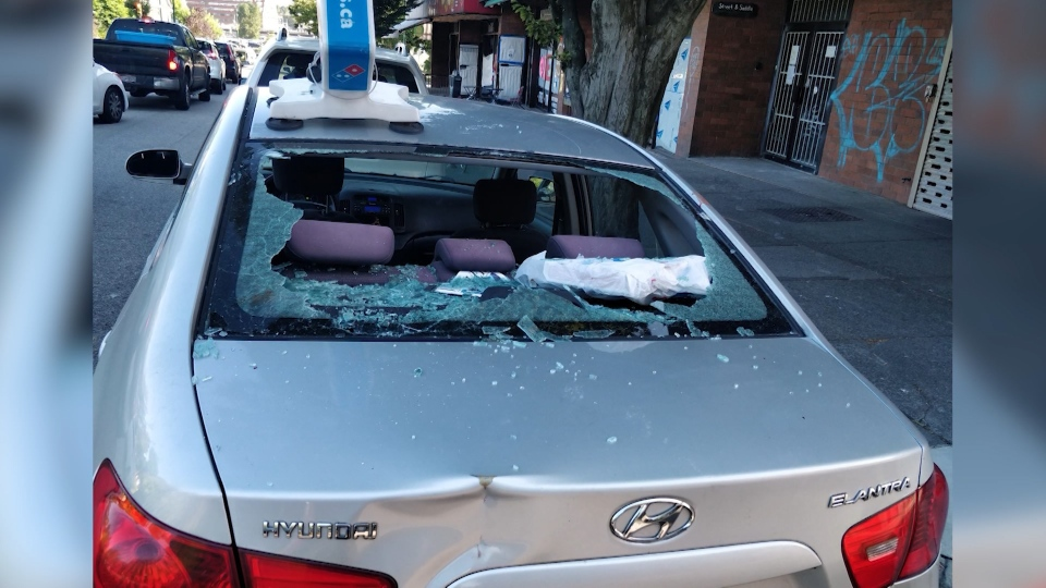 Delivery driver attacked, car smashed