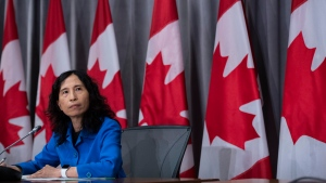 Chief Public Health Officer of Canada Dr. Theresa Tam listens to a question during a news conference on the COVID-19 pandemic on Parliament Hill in Ottawa, on Friday, Aug. 21, 2020. THE CANADIAN PRESS/Justin Tang