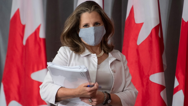 Deputy Prime Minister and Minister of Finance Chrystia Freeland arrives for a news conference Thursday August 20, 2020 in Ottawa. THE CANADIAN PRESS/Adrian Wyld