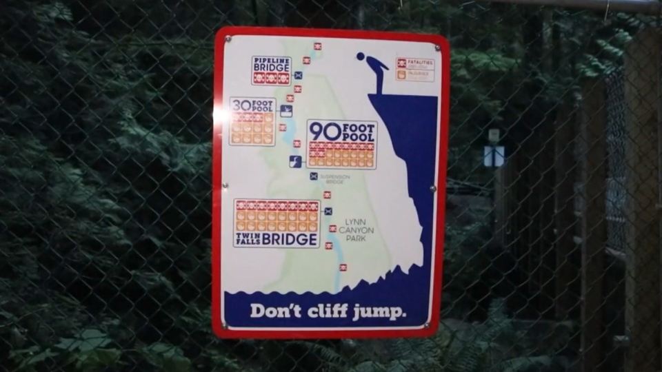 A sign posted at North Vancouver's Lynn Canyon warning against cliff jumping.