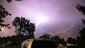Lightning above my house in Kanata. What an incredible one to watch.  Wow! (Randy Lachance/CTV Viewer)