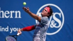 Milos Raonic, of Canada, serves the ball to Daniel Evans, of Great Briton, during the second round at the Western & Southern Open tennis tournament Monday, Aug. 24, 2020, in New York. (AP Photo/Frank Franklin II)