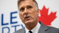 People's Party of Canada Leader Maxime Bernier responds to a question during a news conference in Ottawa, Monday August 24, 2020. THE CANADIAN PRESS/Adrian Wyld