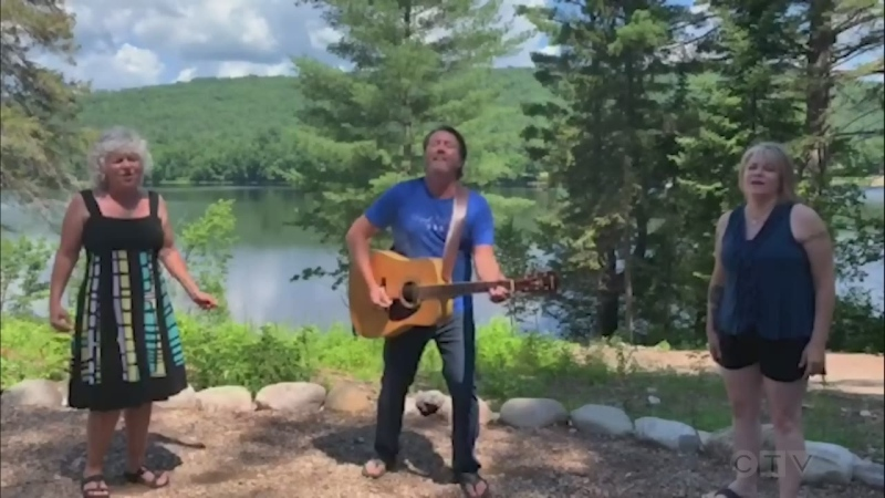 From beside the Mattawa River, members of Roadhouse - Cindi Griffin, Dan Sigouin and Danielle Roy - combine to sing an Eagles favourite.
