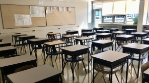 Rows of desks are seen in an empty classroom in Regina's Campbell Collegiate. August 25, 2020. (Gareth Dillistone/CTV News)