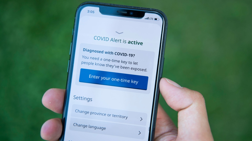 The COVID Alert app is seen on an iPhone in Ottawa, on Friday, July 31, 2020. The app tracks the locations of phones relative to other phones, and notifies users if they have been in proximity to another app user who has tested positive for COVID-19. THE CANADIAN PRESS/Justin Tang