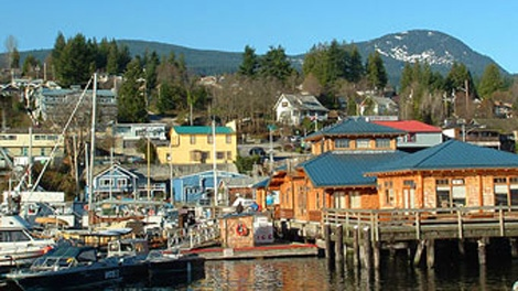 The harbour in Gibsons, B.C., is seen in an image from the town's website. The community of 4,000 has been named world's most liveable by a United Nations-endorsed agency.