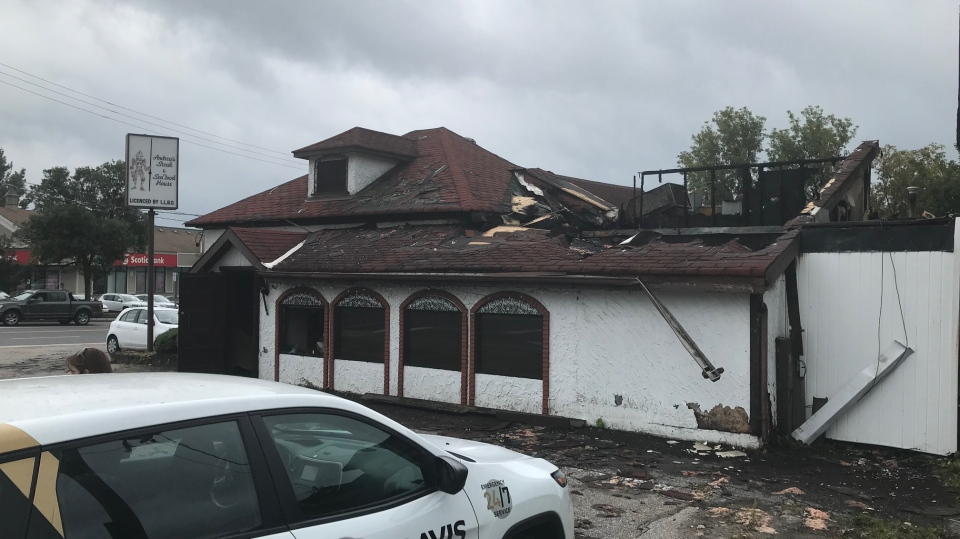Andrea's Steak and Seafood Restaurant in Bracebridge, Ont., is destroyed by fire and water damage on Thurs., Aug. 27, 2020. (Jim Holmes/CTV News)