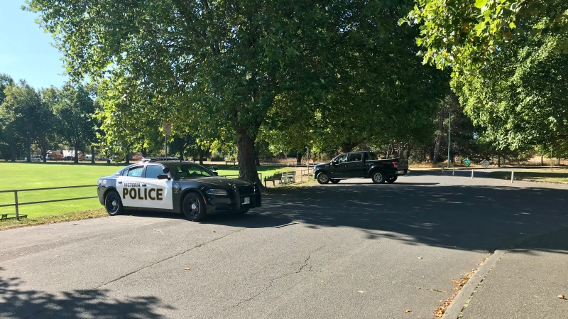 Victoria police were at Beacon Hill Park Thursday morning for reports of a man armed with a gun in the area