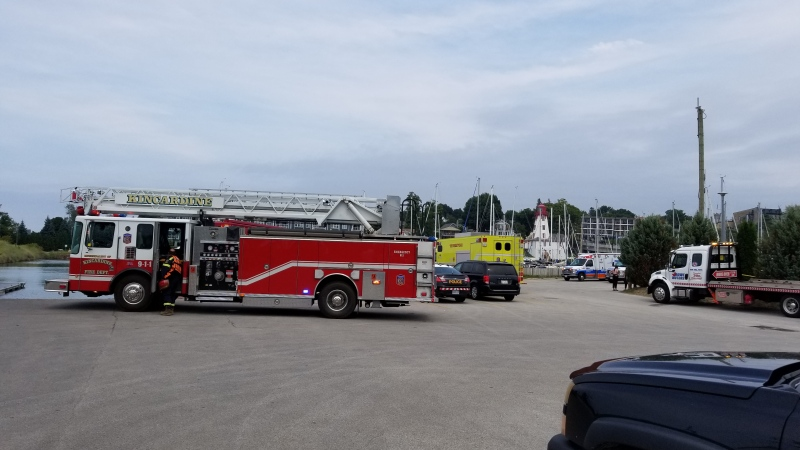 Emergency crews are on scene after a vehicle and two people were pulled from the water in Kincardine, Ont. on Thursday, Aug. 27, 2020.