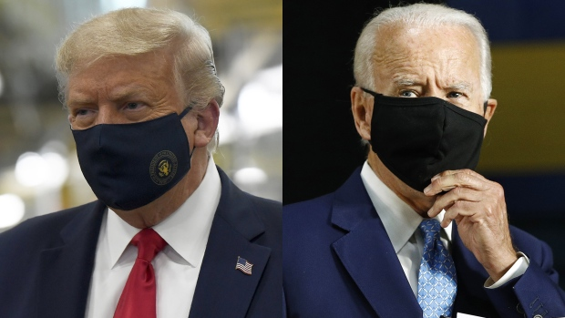 U.S. President Donald Trump and former Vice President Joe Biden wear masks in this combination photo. (AP Photo/Susan Walsh/Patrick Semansky)