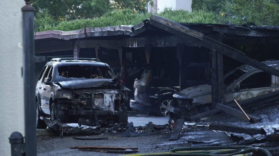 A vehicle destroyed in a suspicious fire in Burnaby is seen on Aug. 28, 2020.